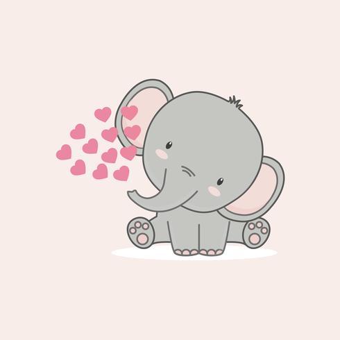 El pequeño elefante con corazones rosas para el día de san valentín.