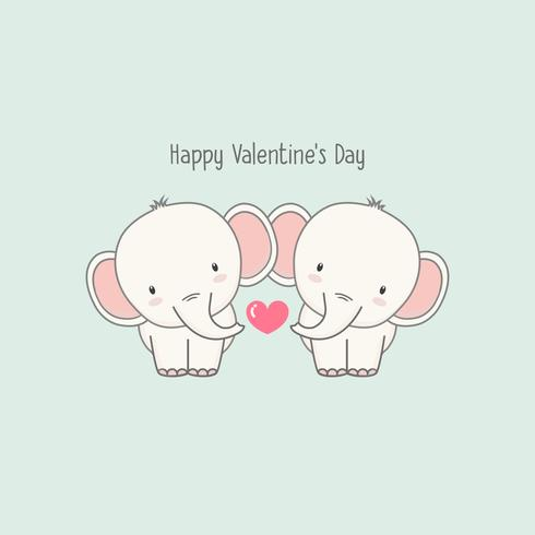 Netter Paar Elefant verlieben sich.