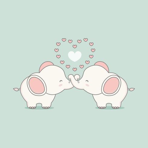 Elefante rosa bonito no amor com corações. Cartão de dia dos namorados.