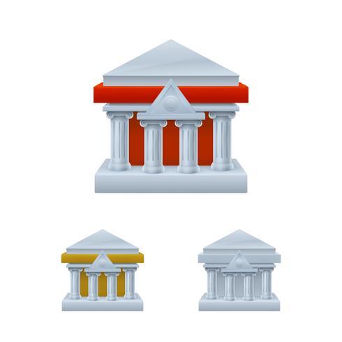 Bank gebouw pictogrammen vector