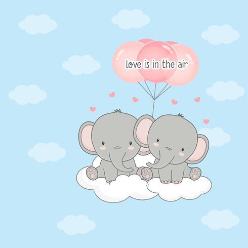 Elefante bonito casal com balões. Cartão de dia dos namorados.