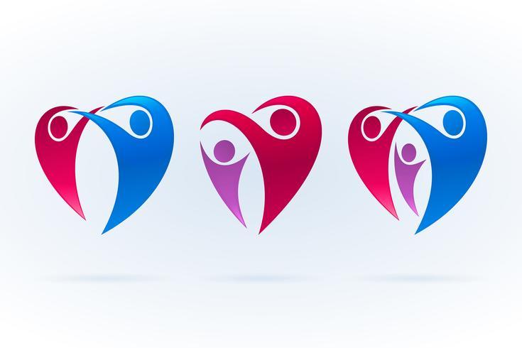 Jeu d'icônes abstraites familiales en forme de coeur