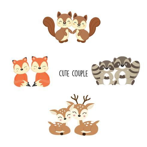 Coppia carina animali del bosco. Volpi, procioni, scoiattoli cartoon.
