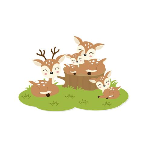 Happy family card. Cute deers family