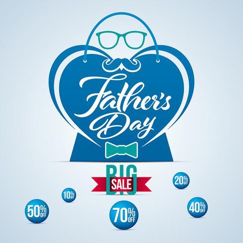 Hartvormige vaders dag verkoop banner vector