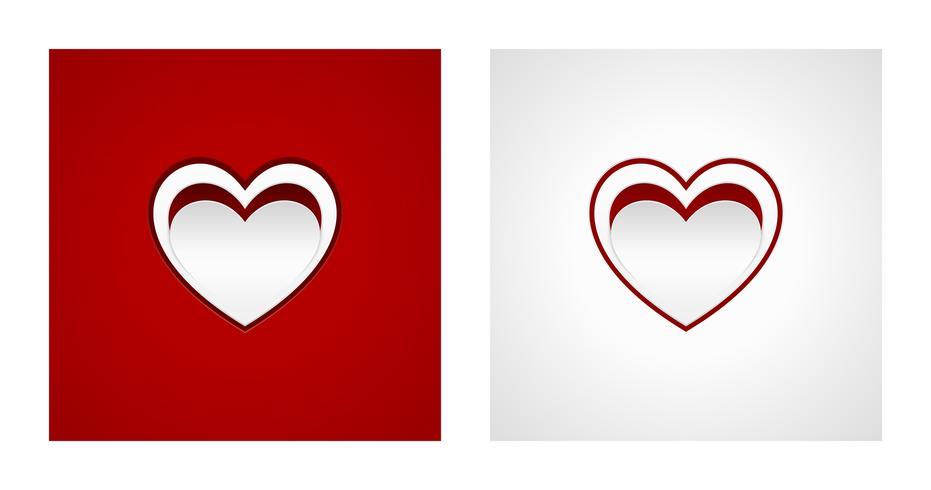 Schneiden Sie Herzformen auf roten und weißen Hintergründen