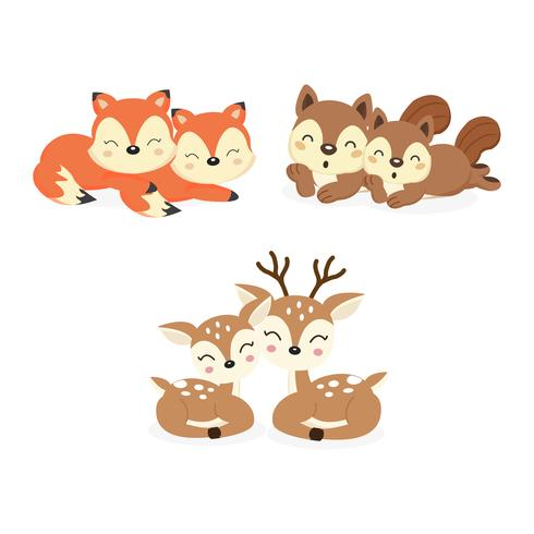 Set of cute couple woodland animals. Foxes,Deer,Squirrels cartoon.