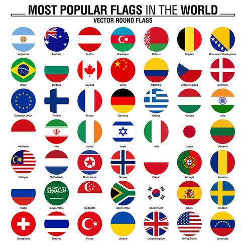 Colección de banderas redondas, banderas del mundo más populares.