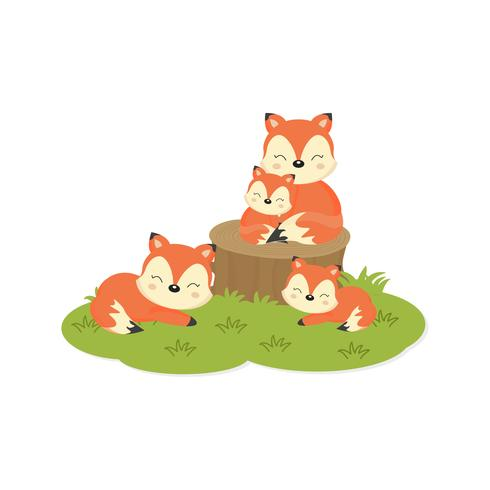 Happy family card. Cute foxes family