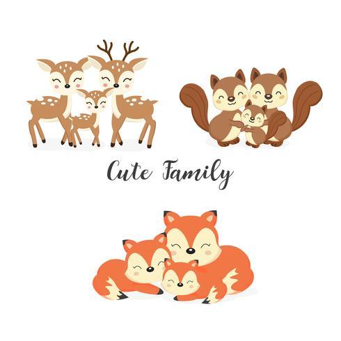 Conjunto de lindos animales de la familia del bosque. Zorros, ciervos, dibujos animados de ardillas. vector