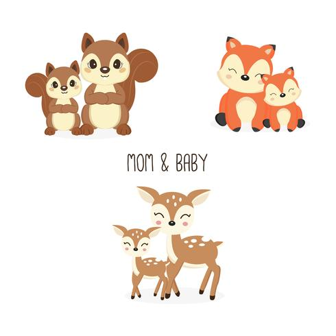 Set of cute family woodland animals. Foxes,Deer,Squirrels cartoon. vector