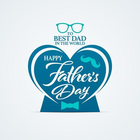 Happy Fathers Day wenskaart met hart vorm vector