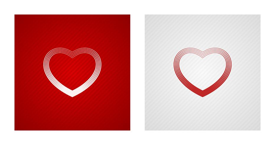 Outline heart sketches on red and white backgrounds