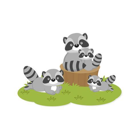 Tarjeta de familia feliz. Familia de mapaches lindos