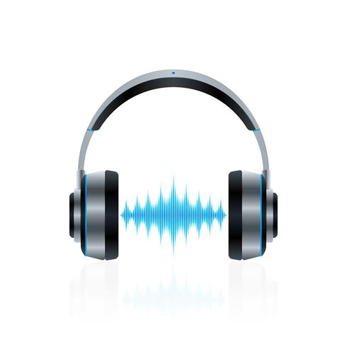 Realistic headphones with sound waves vector