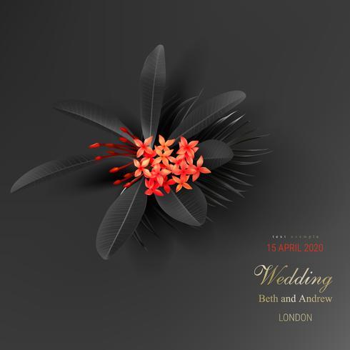 Tropische zwarte bladeren en exotische rode bloem