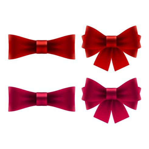 Red bow icons vector