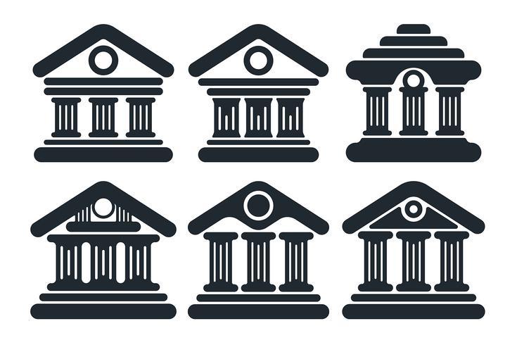 Platte bank gebouw gevel pictogram vector