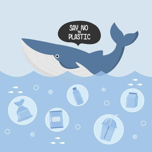 Stop ocean plastic pollution. Plastic garbage and whale in the ocean.  vector