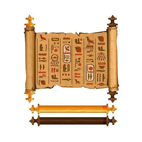 Oude Egypte papyrus scroll cartoon vector