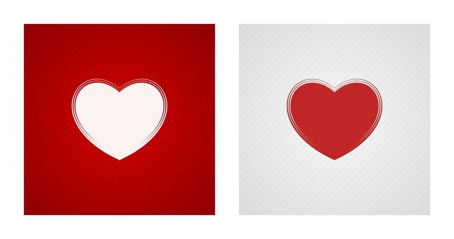 Esboços de coração em fundos vermelhos e brancos