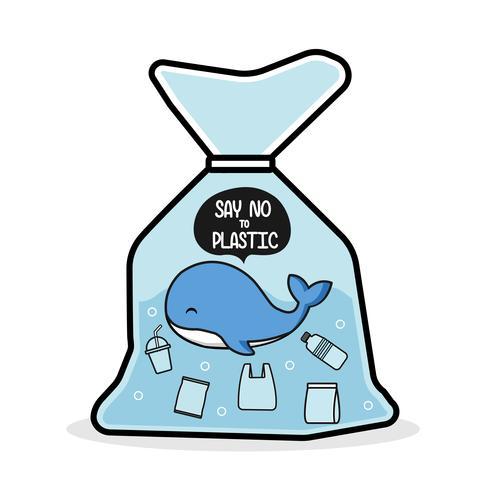 A baleia em um saco plástico diz não ao plástico. Conceito de problema de poluição.
