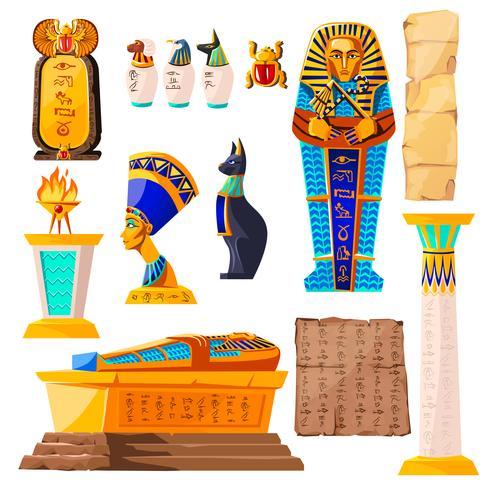 Insieme del fumetto di vettore dell'antico Egitto