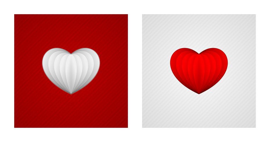 Rood en Witboek harten vector