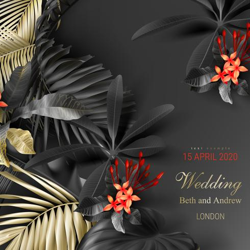 Tropische Schwarz- und Goldblätter auf dunklem Hintergrund