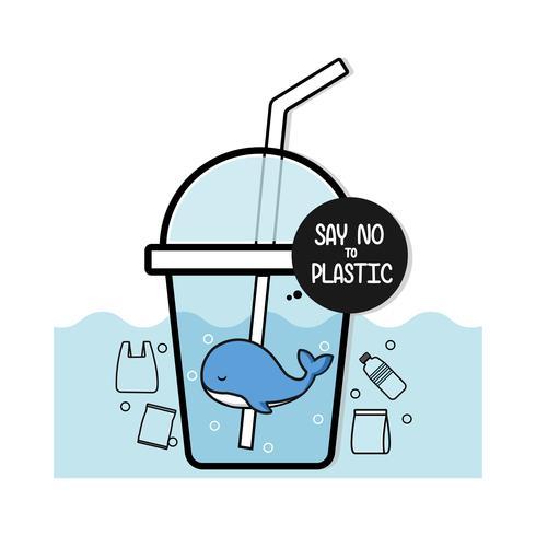 De leuke walvis zegt nr aan plastic, de Ecologische cartoon van het afficheconcept. vector