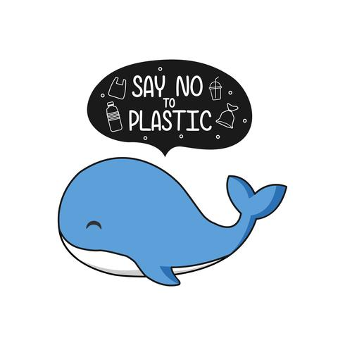Cute whale say no to plastic, Ecological poster concept cartoon.