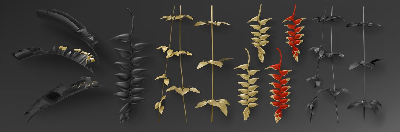 Tropische zwarte en gouden bladeren op donkere achtergrond