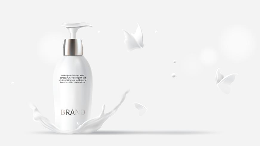 Leite cosméticos realista vector fundo branco