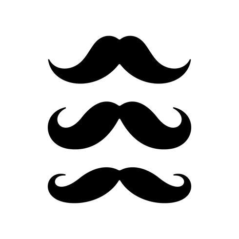 Conjunto de ícones plana de bigode vetor