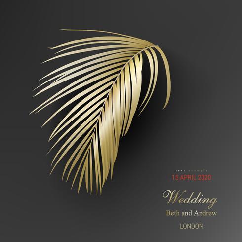 Tropische goldene Palmblätter auf schwarzem Hintergrund