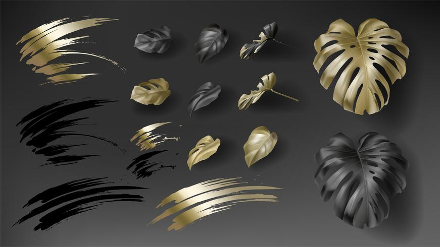 Tropical black and gold monstera leaves