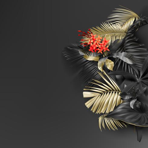 Folhas de preto e ouro tropicais em fundo escuro