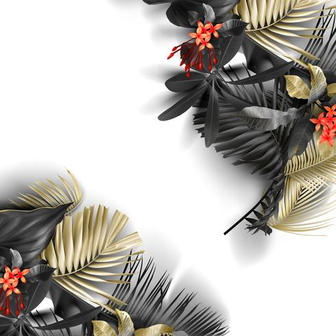 Tropical black and gold leaves on white background