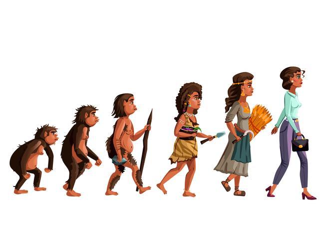 Ilustración de dibujos animados de vector de evolución de mujer