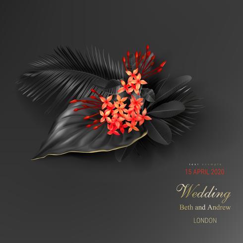 Tropiska svarta löv och exotisk röd blomma
