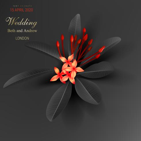 Feuilles tropicales noires et fleur rouge exotique