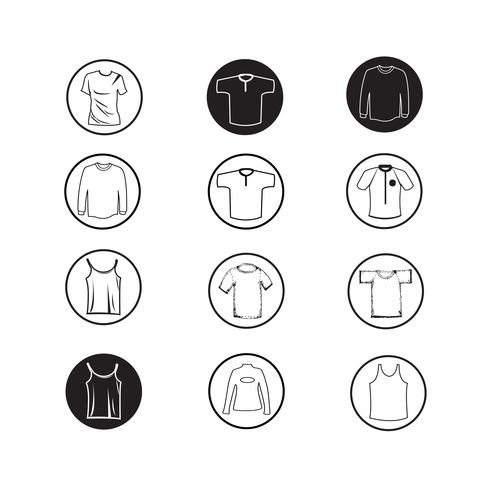 Set of Apparel shirt and T-shirt Icon Clothing icons vector