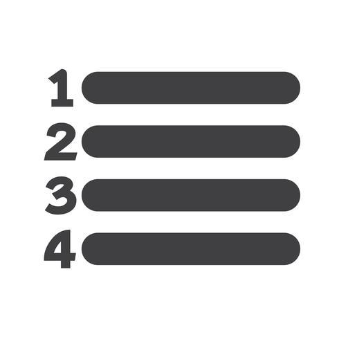 Nummerlijst Icon Sign vector