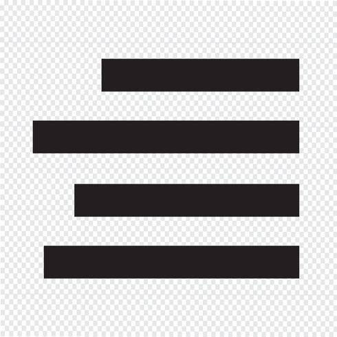 Lijn tekst uit Rechts pictogramteken Illustratie