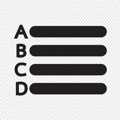 Icona elenco lettere di testo