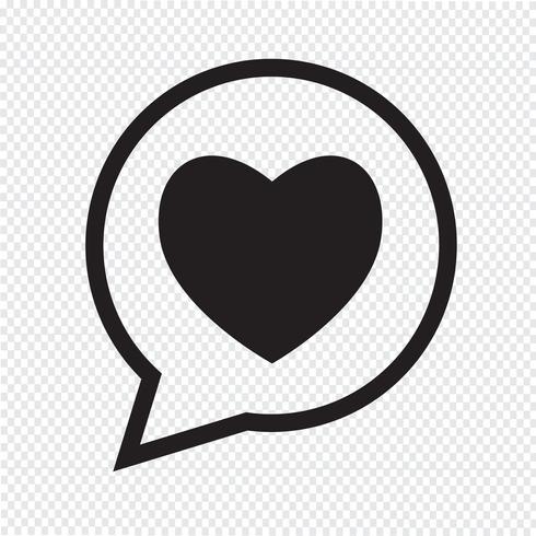 Hart toespraak bubble pictogram