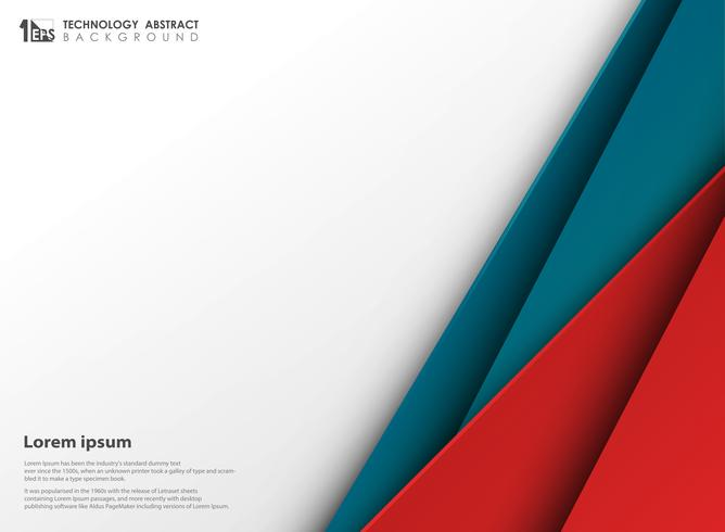 Abstract Technology Blue Red Colors Paper Cut With White