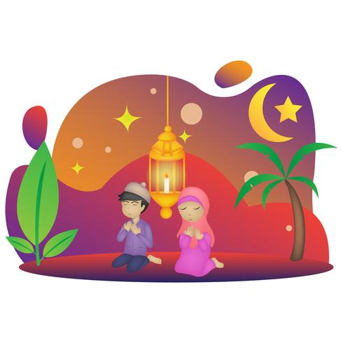 eid mubarak character illustration  vector