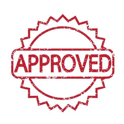 sello aprobado con texto en rojo vector