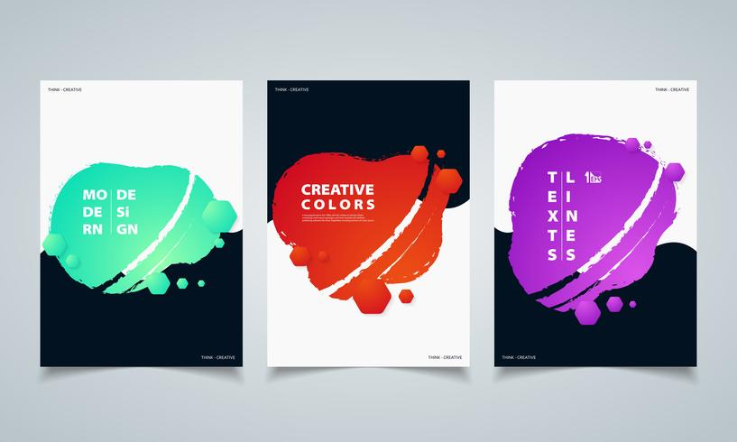 Abstract hexagonal colorful fluid geometric shape banners brochure. illustration vector eps10